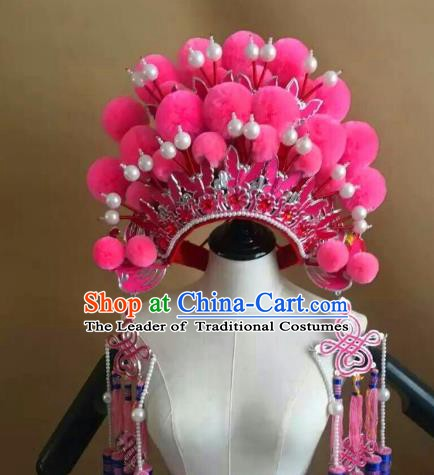 Traditional Chinese Beijing Opera Diva Pink Venonat Phoenix Coronet Peking Opera Actress Hats Headwear