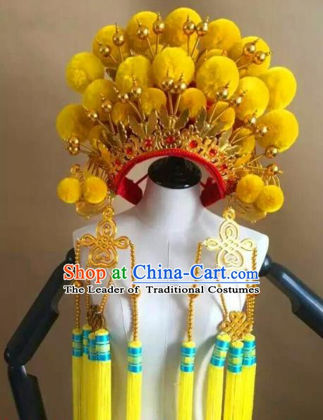 Traditional Chinese Beijing Opera Diva Yellow Venonat Phoenix Coronet Peking Opera Actress Hats Headwear