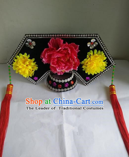 Traditional Chinese Beijing Opera Diva Qing Dynasty Princess Hair Accessories Peking Opera Actress Hats Headwear