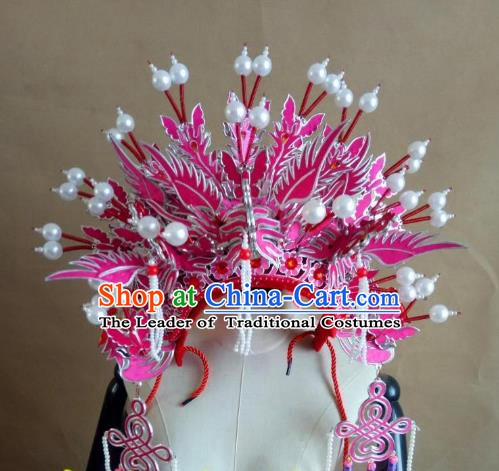 Chinese Traditional Beijing Opera Empress Pink Phoenix Coronet Hair Accessories Peking Opera Actress Hats Headwear
