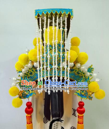 Traditional Chinese Beijing Opera Emperor Hair Accessories Tassel Hair Crown Peking Opera Headwear