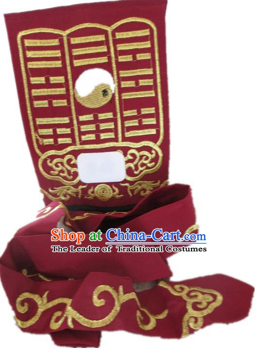 Traditional Chinese Beijing Opera Imperial Bodyguard Red Hats Peking Opera Taoist Priest Headwear