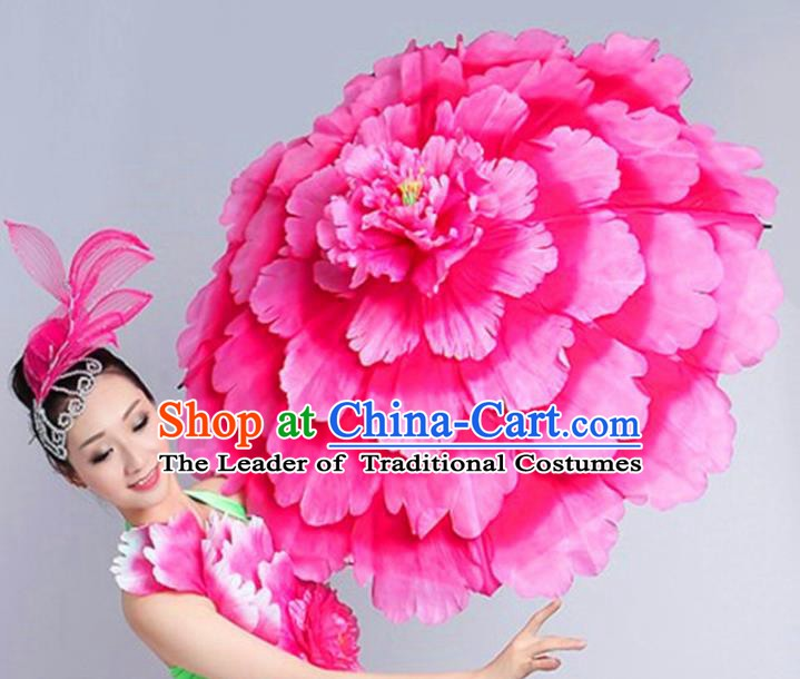 Chinese Folk Dance Props Accessories Stage Performance Peony Umbrellas for Women