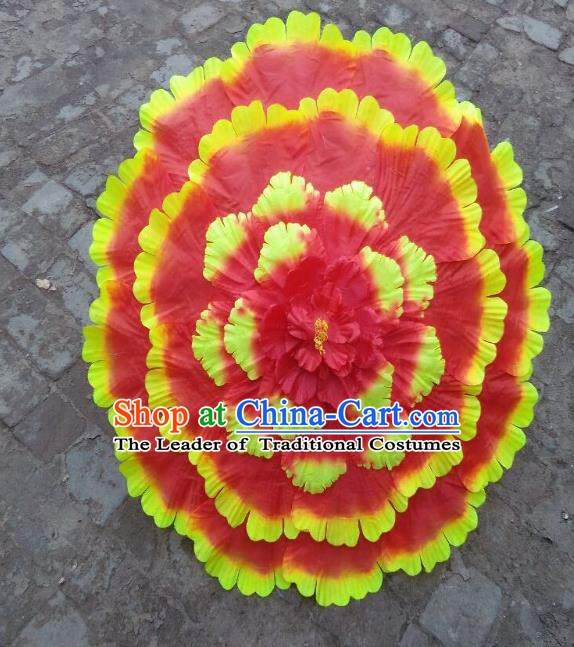 Chinese Folk Dance Props Accessories Stage Performance Orange Peony Umbrellas for Women
