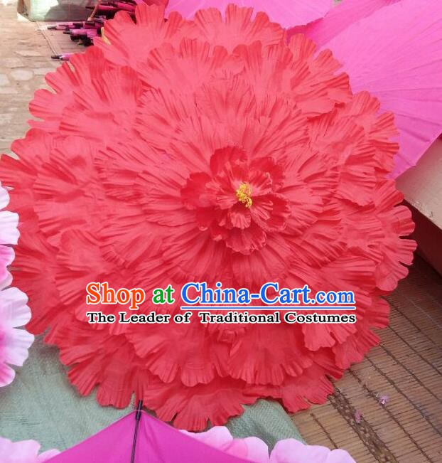 Chinese Folk Dance Props Accessories Stage Performance Red Peony Umbrellas for Women