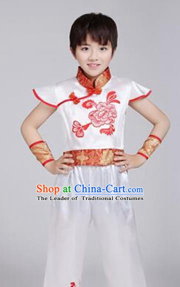 Traditional Chinese Classical Dance Yangko Costume, Children Folk Dance Chorus Dress for Kids
