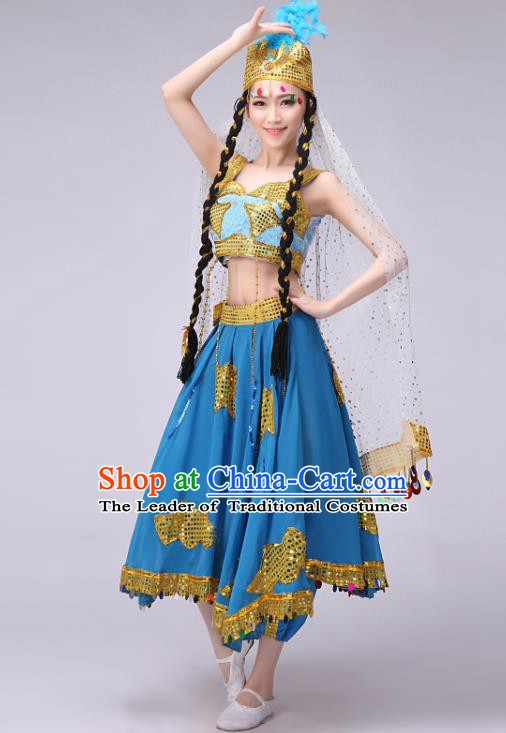Traditional Chinese Uyghur Nationality Dancing Costume, Chinese Uigurian Minority Nationality Dance Blue Dress for Women