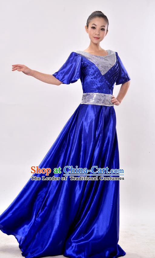 Traditional Chinese Modern Dance Chorus Costume, Women Opening Dance Blue Dress for Women
