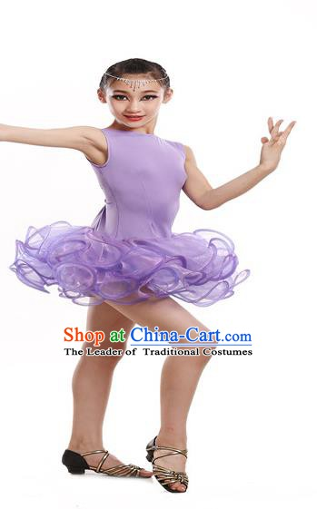Traditional Chinese Modern Dance Latin Dance Costume Opening Dance Purple Dress for Kids