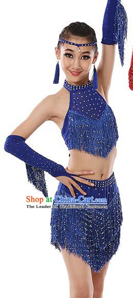 Top Grade Modern Dance Costume, Women Opening Dance Costume Latin Dance Blue Dress for Women
