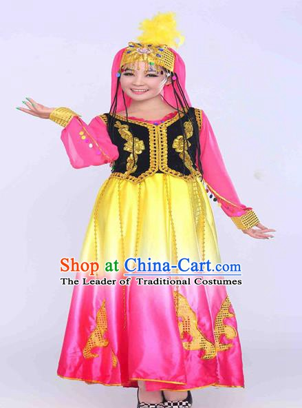 Traditional Chinese Uyghur Nationality Dance Costume, Chinese Uigurian Minority Dance Dress for Women