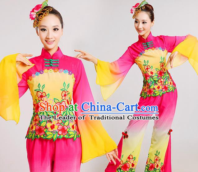 Traditional Chinese Folk Dance Costume, Chinese Yangko Drum Dance Clothing for Women