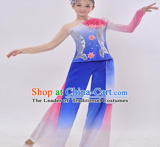 Traditional Chinese Folk Dance Fan Dance Blue Costume, Chinese Yangko Drum Dance Clothing for Women