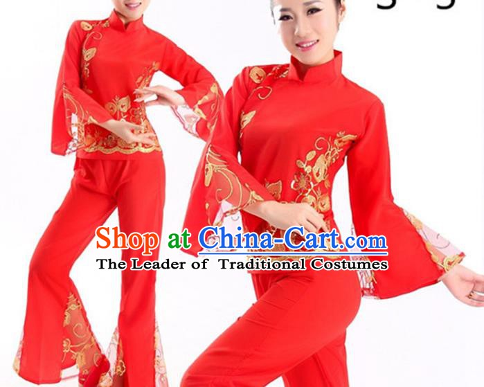 Traditional Chinese Folk Dance Fan Dance Red Costume, Chinese Yangko Drum Dance Clothing for Women