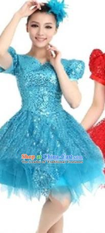 Top Grade Modern Dance Costume Stage Performance Clothing Chorus Blue Bubble Dress for Women