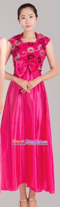Top Grade Modern Dance Costume Stage Performance Compere Clothing Chorus Rosy Dress for Women