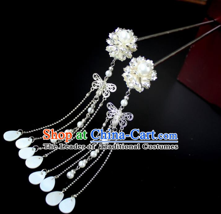 Chinese Ancient Handmade Hair Accessories Hairpin Tassel Step Shake Hair Fascinators Hairpins for Women
