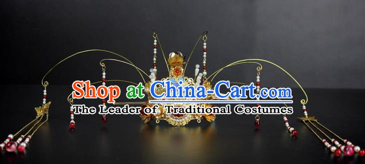 Chinese Ancient Handmade Hair Accessories Tassel Phoenix Coronet Hair Fascinators Hairpins for Women