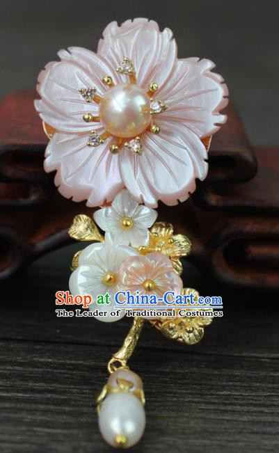 Chinese Ancient Handmade Breastpin Accessories Pink Shell Flower Brooch for Women