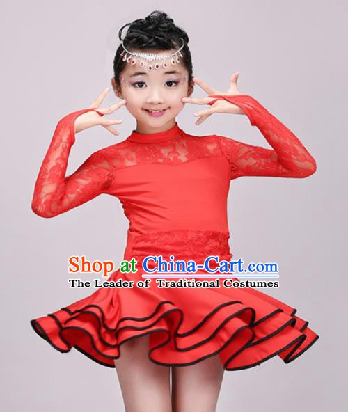 Top Grade Modern Dance Costume Stage Performance Latin Dance Red Bubble Dress for Kids