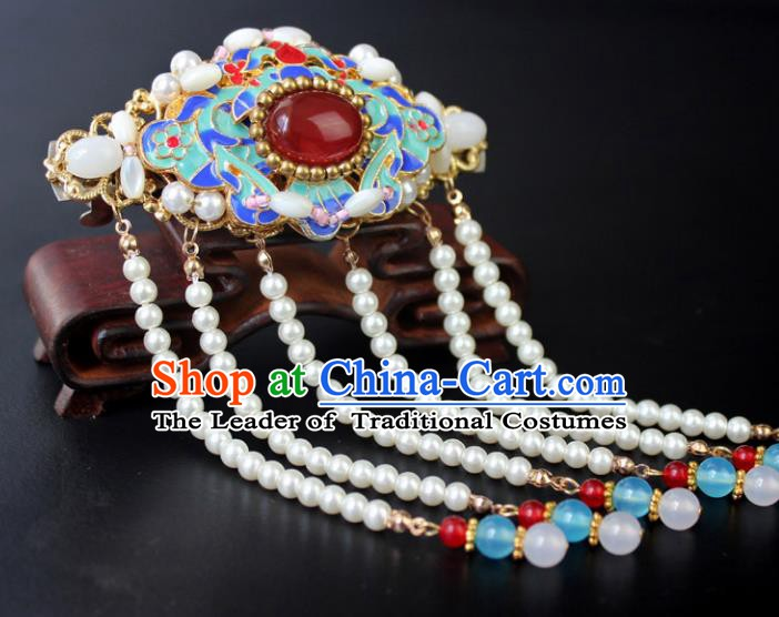 Chinese Ancient Handmade Hair Accessories Beads Tassel Step Shake Hair Stick Blueing Hairpins for Women