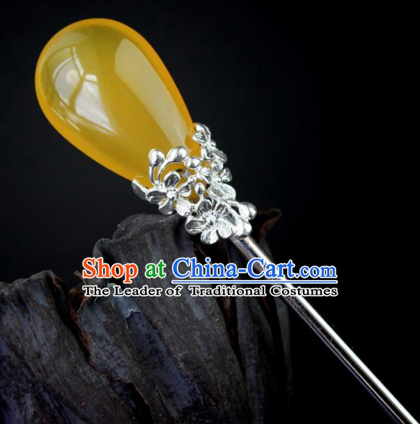 Chinese Ancient Handmade Hair Accessories Yellow Hair Stick Hairpins for Women