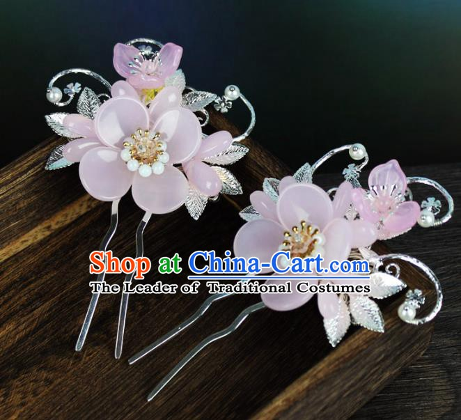 Chinese Ancient Handmade Hair Accessories Classical Pink Flowers Hairpins Hair Clip for Women