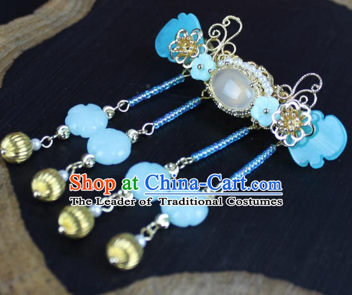 Chinese Ancient Handmade Hair Accessories Classical Blue Hairpins Tassel Hair Clip for Women