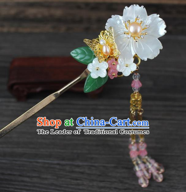 Chinese Ancient Handmade Hair Accessories Pink Beads Tassel Hairpins for Women