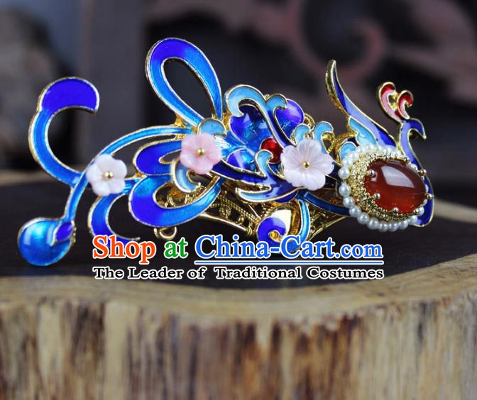 Chinese Ancient Handmade Hair Accessories Blueing Phoenix Hairpins for Women