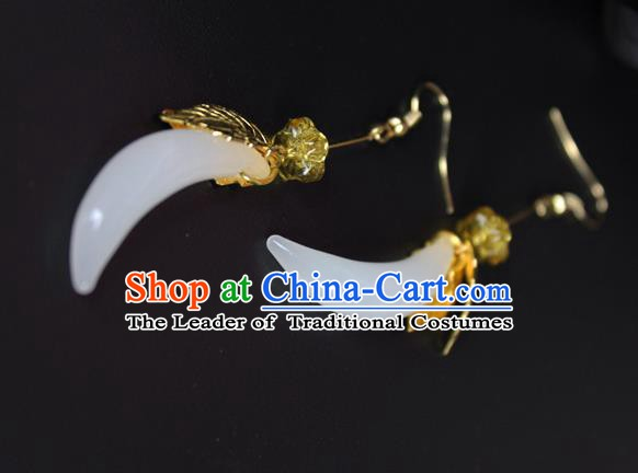 Chinese Ancient Handmade Earrings Accessories Moon Tassel Eardrop for Women