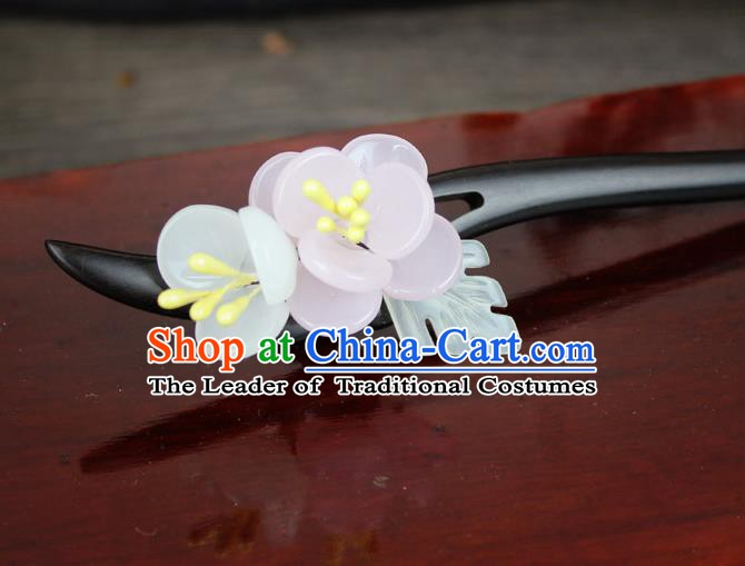Chinese Ancient Handmade Hair Accessories Flowers Ebony Hairpins for Women