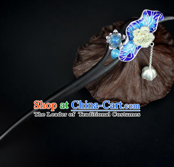 Chinese Ancient Handmade Hair Accessories Classical Ebony Hairpins Blueing Lotus Leaf Hair Clips for Women