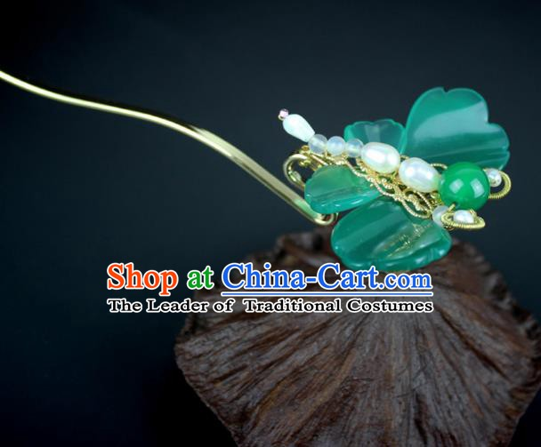 Chinese Ancient Handmade Hair Accessories Classical Hairpins Jade Butterfly Hair Clips for Women