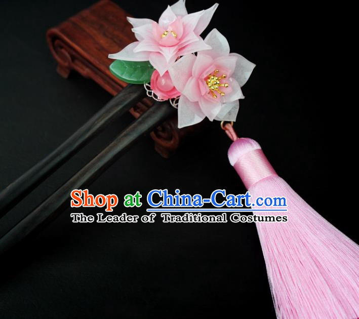 Chinese Ancient Handmade Hair Accessories Classical Hairpins Pink Lotus Tassel Hair Clips for Women