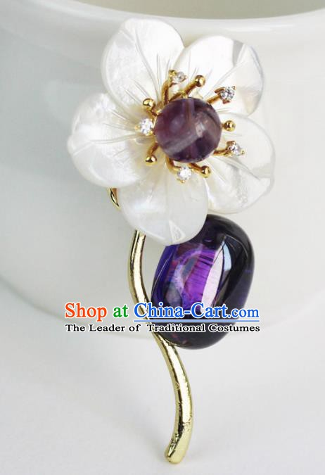 Chinese Ancient Handmade Brooch Accessories Chalcedony Breastpin for Women
