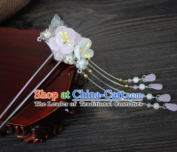 Chinese Ancient Handmade Hair Accessories Flowers Tassel Step Shake Hairpins for Women