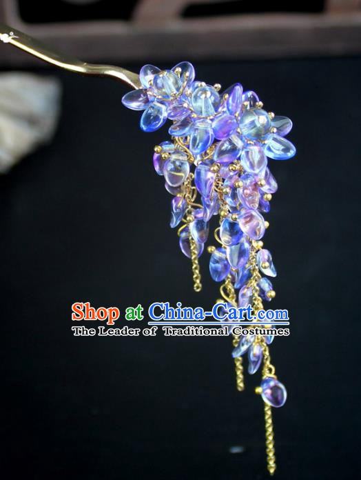 Chinese Ancient Handmade Hair Accessories Classical Hairpins Purple Crystal Tassel Hair Clips for Women