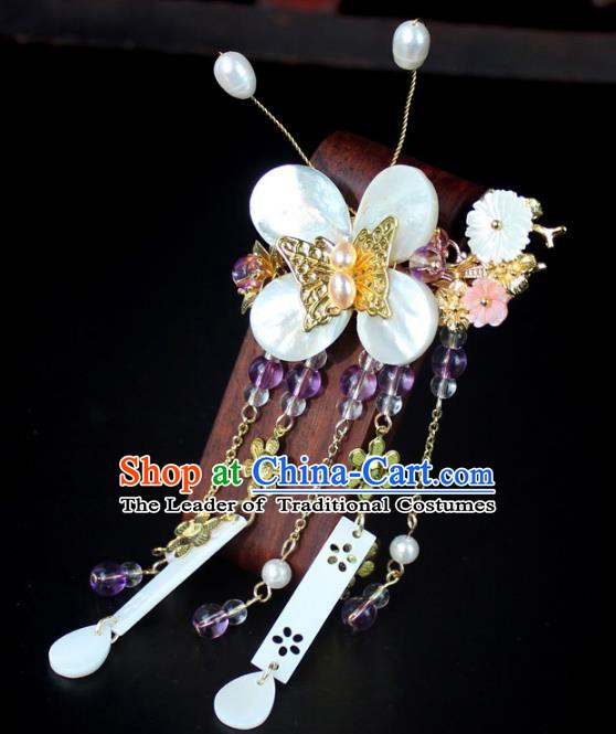 Chinese Ancient Handmade Hair Accessories Butterfly Flowers Hair Stick Hairpins for Women