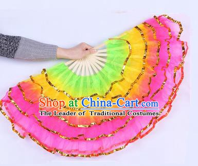 Chinese Folk Dance Props Accessories Stage Performance Yangko Folding Fans for Women