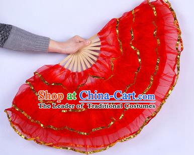 Chinese Folk Dance Props Accessories Stage Performance Yangko Red Folding Fans for Women