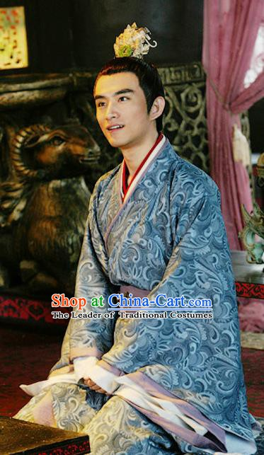 Traditional Ancient Chinese Han Dynasty Royal Highness Liu Wu Replica Costume for Men