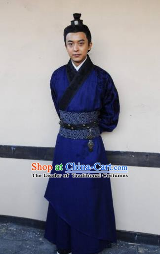 Traditional Ancient Chinese Han Dynasty Swordsman General Feng Yi Replica Costume for Men