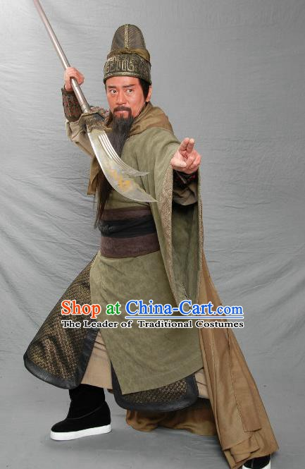 Traditional Ancient Chinese Three Kingdoms General Guan Yu Guan Gong Replica Costume for Men