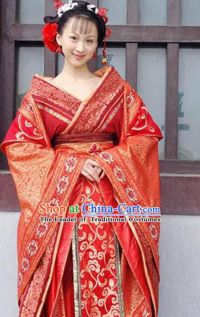 Ancient Traditional Chinese Han Dynasty Imperial Concubine Embroidered Hanfu Dress Replica Costume for Women