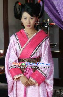 Ancient Traditional Chinese Han Dynasty Imperial Consort Zhao Hede Hanfu Replica Costume for Women
