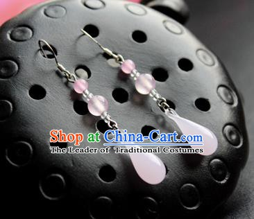 Chinese Ancient Handmade Accessories Earrings Pink Eardrop for Women