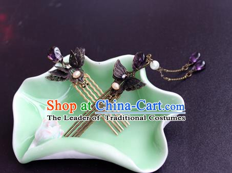 Chinese Ancient Handmade Hair Accessories Classical Purple Crystal Tassel Hairpins Butterfly Hair Comb for Women
