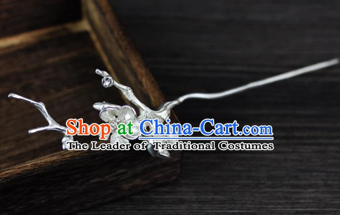 Chinese Ancient Handmade Hair Accessories Classical Hairpins Sliver Flower Hair Clip for Women