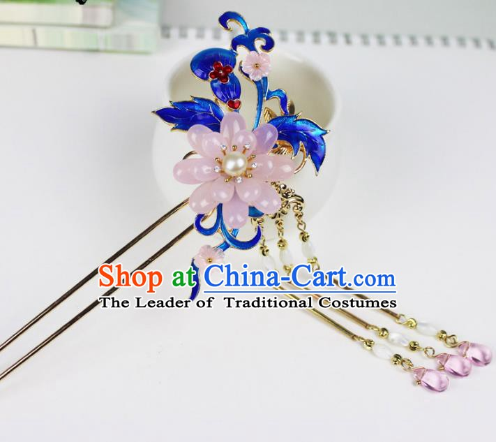 Chinese Ancient Handmade Hair Accessories Classical Hairpins Pink Flower Blueing Hair Clip for Women